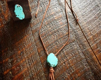 Faux turquoise leather cuff and necklace