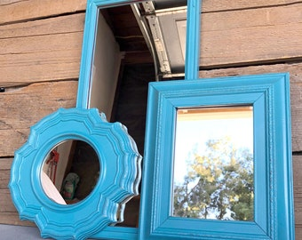 Blue Turquoise Mirror Set of 3 - Upcycled Vintage mirrors..Mirror Gallery Wall or Bedroom Grey Lime Chartruese White Modern Bright Retro