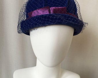 Blue Velvet Bucket Hat // 60's Mod // Blue Netting // Purple Satin Band