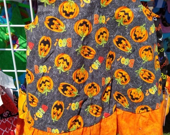 Halloween Jumper, A-line dress, pinafore with orange ruffle