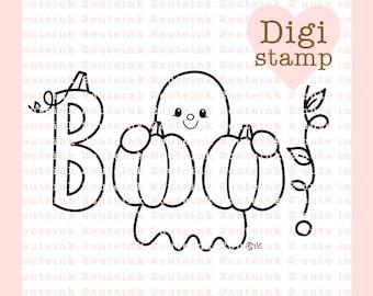 Boo Word Art Digital Stamp - Ghost Digital Stamp - Halloween Stamp - Ghost Stamp - Halloween Art - Halloween Craft Supply