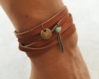 Brown Leather Wrap Bracelet // Soft Suede // Personalized Charm // Gifts For Her // Boho Wrap Bracelet // Bohemian Jewelry // Rustic Jewelry