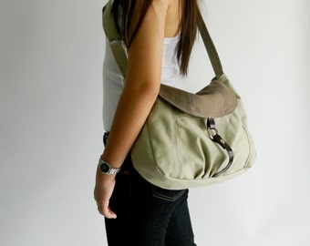 Cross body bag,Brown tone messenger bag, diaper bag, shoulder bag, Gift for her  ,Canvas School bag / no.103 CLAIRE