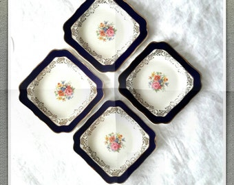 English Cobalt Blue and White China plates by Crown Ducal Beautiful set of four small plates Mismatched China pieces Replacement China