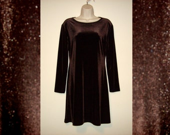Vintage 1990s Brown Velvet Dress, Size Medium