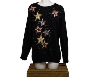 Franco Valeri Women's Beaded Star Sweater - M