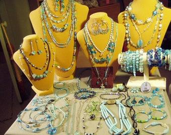 Vintage Lot Aqua Turquoise Teal Glass Costume Jewelry Necklaces Pins Earrings Bracelets 1 Set 58 Pcs  9433
