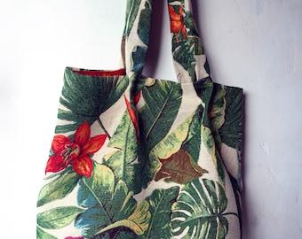 Large tropical print tote bag