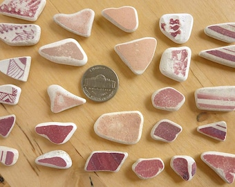SEA POTTERY SHARDS 26 Small Pink / Red Beach Earrings Charms Antique Scottish