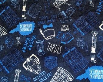 Doctor who fabric, glow in the dark, print discontinued, blue, Tardis, bow tie, Matt Smith, 11th Doctor, cybermen, screwdriver, dalek,