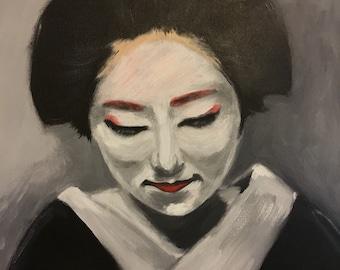 Geisha with flowers