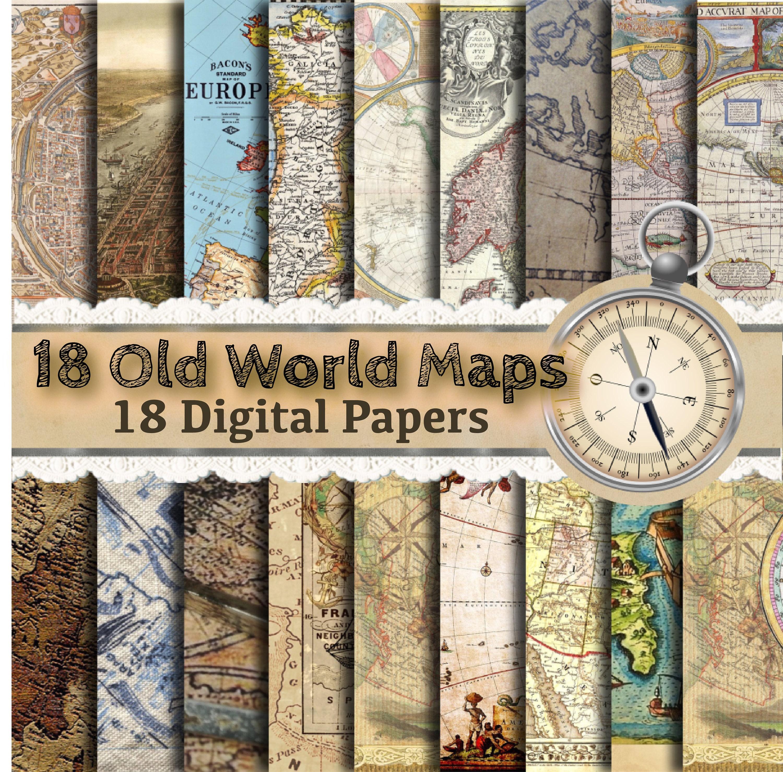 Alte Weltkarte Papier Vintage-Karten Landkarte Papier