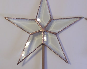 Classic Christmas Star, Rustic Star Tree Topper, 10.5 Inch Beveled Glass with Scalloped Edges