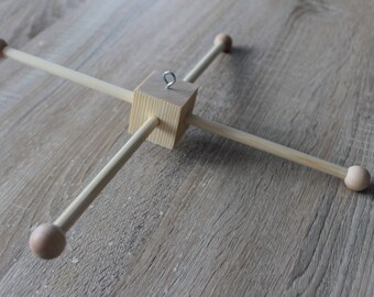 Wooden baby mobile hanger (cross)