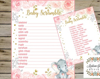 Cute ELEPHANT BABY SCRAMBLE Baby Shower Game, Baby Shower Scramble Guessing Game, Instant Download, Digital Printable