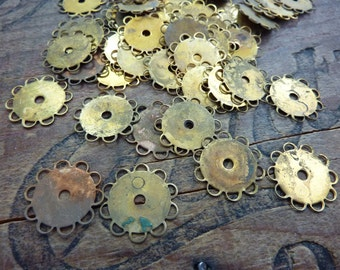 Vintage Brass Stamping Lace Edge Bezel 13mm Base (10)