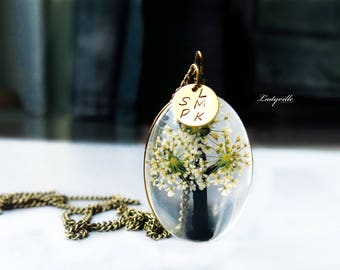 Necklace with real  Queen Anne's lace (dill) flowers - Life Tree and a personal name