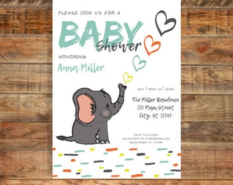 Baby Elephant Blue and Orange Sprinkle Baby Shower or Birthday Invitation | Printable