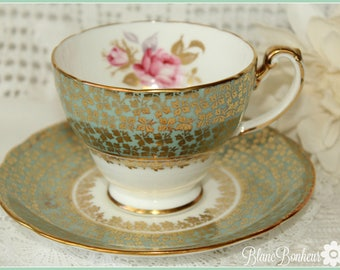 Hammersley, England: Teacup & saucer with pink rose