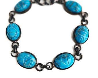 "Vintage Scarab Bracelet - Sterling Silver Blue Turquoise 7 1/2""  Bracelet - Egyptian Revival Jewelry"