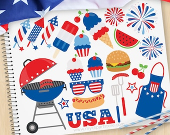 Independence Day BBQ, 4th of July Clipart, Picnic, USA, Fireworks, Balloons, bunting, cupcake, Commercial Use, Vector clip art, SVG Files