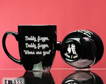 Daddy finger, Daddy finger, Where are you? black coffee mug - nursery rhyme - Here I am - gift for new dad - mommy finger song - Dad's Day