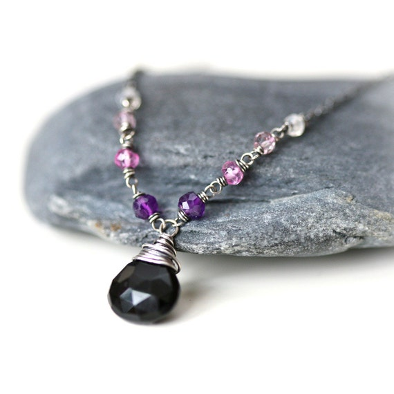 Purple Night - Black Onyx Ombre Gem Arrangement Sterling Silver Necklace