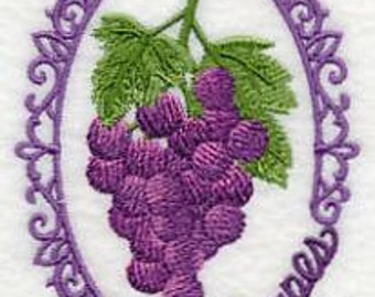 Grapes Towel - Embroidered Towel - Vintage Towel - Flour Sack Towel - Hand Towel - Bath Towel - Apron - Fingertip Towel