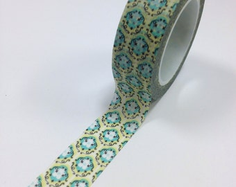 Washi Tape - 15mm - Aqua and Butter Funky Medallion  - Deco Paper Tape No. 990