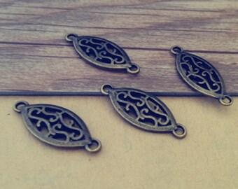 30pcs  Antique bronze oval Pendant charm 10mmx25mm