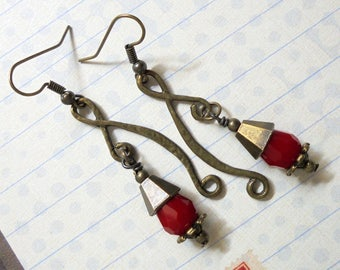 Crimson Red and Brass Boho Goth Earrings (3410)