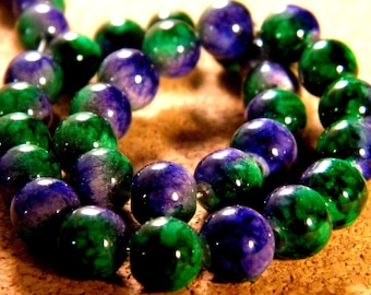 20 beads 8 mm glass 2 tone green and purple PE202 1