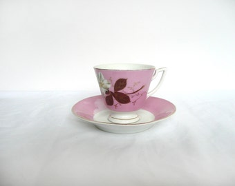 Victorian cup and saucer - vintage tea set - hand painted luster ware cup and saucer - antique pink lily cup and saucer
