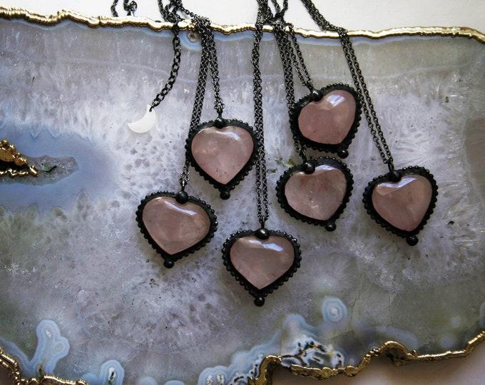 Rose Quartz Heart Crystal Necklace // Minimal Heart Shaped Rose Quartz Layering Necklace