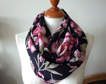 Orchids Infinity scarf loop circle, fushia and purple orchids on midnight blue scarf, floral summer fashion, Mother's Day gift under 25