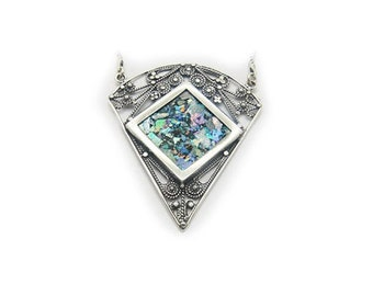 Ancient Roman Glass Pendant, 925 Sterling Silver Necklace, Original Gift, Unique Jewelry