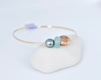 "Hawaiian Shell Bangle, Tahitian Pearl Bangle, Size 8.25"", Gold Filled Bangle, Ocean Inspired, Mermaid Jewelry, Ocean Jewelry, Sea glass"