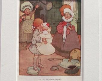 ORIGINAL print (Illustration) by Mabel Lucie Attwell. 'Alice in Wonderland' c.1918.