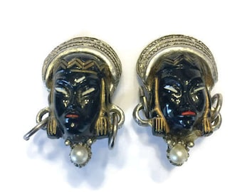 Vintage Selro Asian Princess Earrings, Unsigned Selro Selini Enamel Clip Earrings, Costume Jewelry