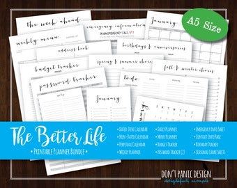 The Better Life Binder - A5 Printable Home Organizing Bundle - Home Planner Calendar, Daily, Weekly Planner, Menu Planner - Instant Download