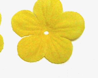 45mm Five Petals Yellow Fabric Flower Embellishment-150 Pcs