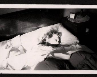 Vintage Snapshot Photo Sunshine on Face of Woman Sleeping in Bed Good Morning Sunshine 1940's, Original Found Photo, Vernacular Photography