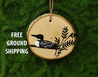Rustic Birch loon ornament/birch slice ornament/Christmas ornament/primitive loon painting/loon ornament/lake cabin decor/loon decor