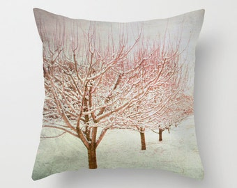 Pillow Cover, Pink Tree Pillow, Pink Mint Pillow, Apple Orchard Throw PIllow, Pink Pillow, Winter Tree Photo Pillow, Living Room  16x16
