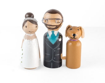 Dog Cake Topper - peg couple with dog - couple with dog - dog cake topper - dog wedding - cake topper with dog - peg family with dog