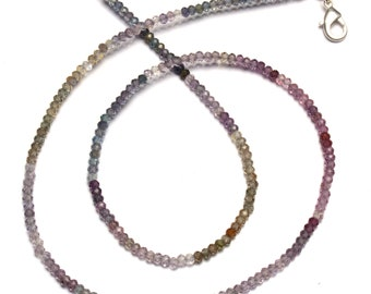 """Natural Gem Multicolor Spinel Faceted 3MM Rondelle Beads 18"""" Full Strand Israeli Machine Cut Beads Super Fine Quality Complete Necklace"""