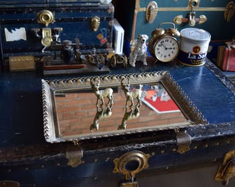 Large Rectangular Mirrored Vanity Tray - Rose Patterned Brass Metal Filligree - BOHEMIAN VANITY TRAY