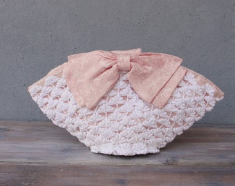 Bridal Purse, Romance with a Bow, Crocheted Lace Bag with Pink Bow