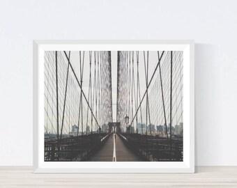 Brooklyn Bridge Ditial Print, New York City, Brooklyn, Brooklyn Bridge Wall Decor, Travel Photo, East River, Print, Wall Art,  #A13