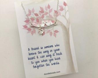 friendship gift, friendship necklace, best friend gift, old friends, gift for girl friend, friend quote necklace, birds on a branch necklace